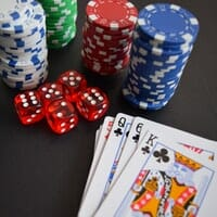 Gambling chips, die and playing cards